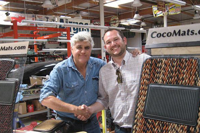 CocoMats.com Employee Drew meeting with Jay Leno who is a customer of CocoMats.com