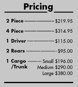 Pricing for Furstil Chequers Checkered Car Mats