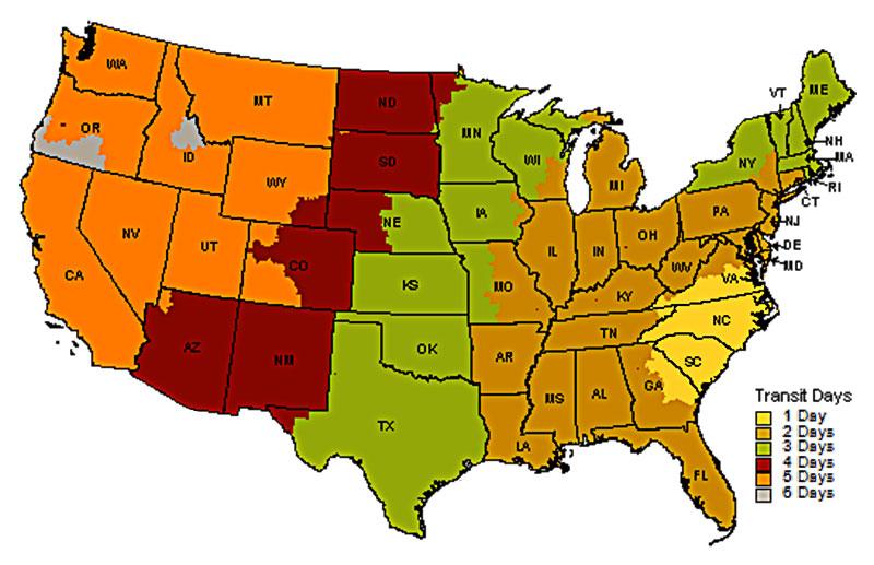 USA Lower 48 shipping map